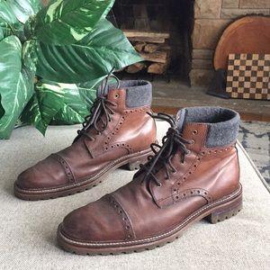 Johnston & Murphy Men's Karnes Brown Leather Boots